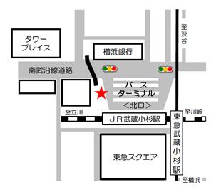 武蔵小杉駅乗降場所地図